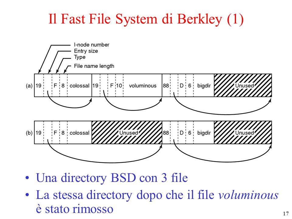 17 Il Fast File System di Berkley (1) Una directory BSD con 3 file La stessa directory dopo che il file voluminous è stato rimosso