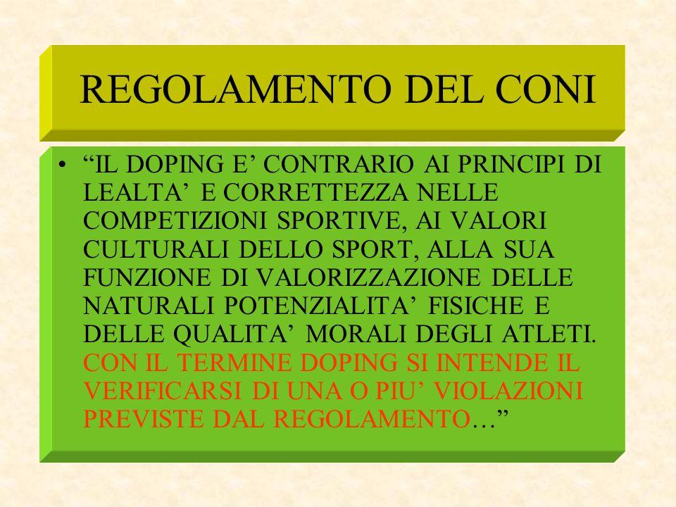 """REGOLAMENTO DEL CONI """"IL DOPING E' CONTRARIO AI PRINCIPI DI LEALTA' E CORRETTEZZA NELLE COMPETIZIONI SPORTIVE, AI VALORI CULTURALI DELLO SPORT, ALLA S"""