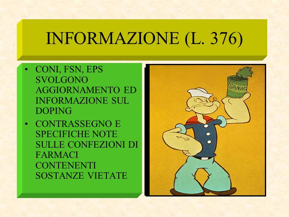 INFORMAZIONE (L. 376) CONI, FSN, EPS SVOLGONO AGGIORNAMENTO ED INFORMAZIONE SUL DOPING CONTRASSEGNO E SPECIFICHE NOTE SULLE CONFEZIONI DI FARMACI CONT