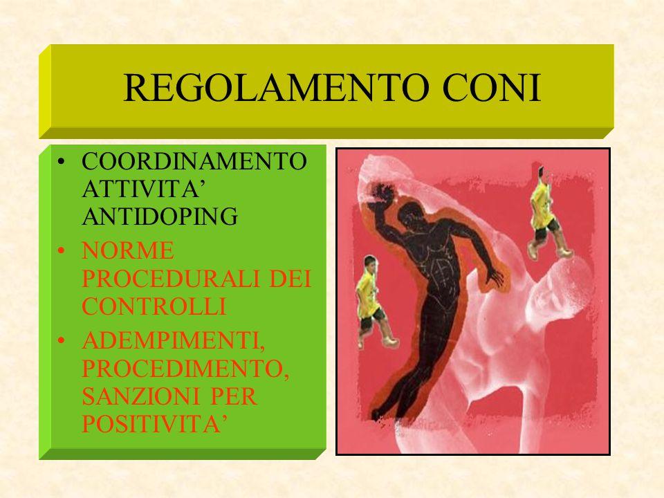 REGOLAMENTO CONI COORDINAMENTO ATTIVITA' ANTIDOPING NORME PROCEDURALI DEI CONTROLLI ADEMPIMENTI, PROCEDIMENTO, SANZIONI PER POSITIVITA'