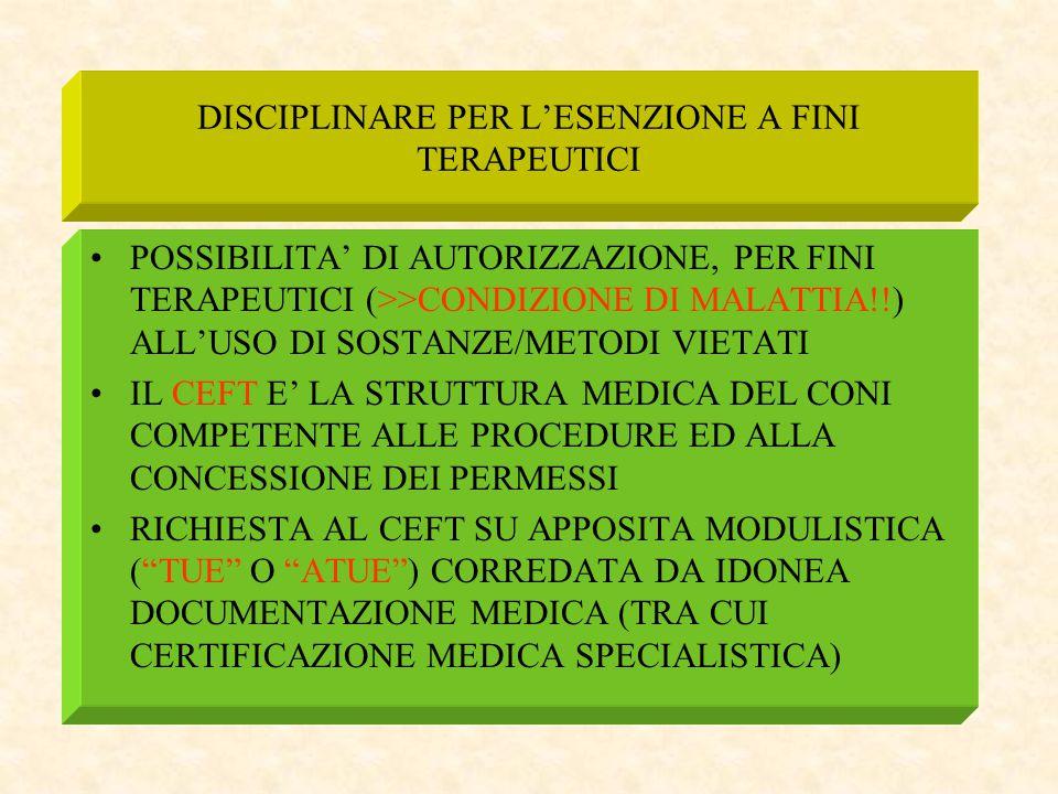 DISCIPLINARE PER L'ESENZIONE A FINI TERAPEUTICI POSSIBILITA' DI AUTORIZZAZIONE, PER FINI TERAPEUTICI (>>CONDIZIONE DI MALATTIA!!) ALL'USO DI SOSTANZE/
