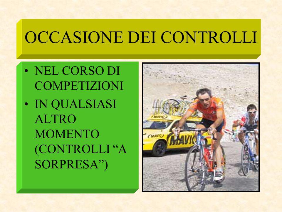 """OCCASIONE DEI CONTROLLI NEL CORSO DI COMPETIZIONI IN QUALSIASI ALTRO MOMENTO (CONTROLLI """"A SORPRESA"""")"""