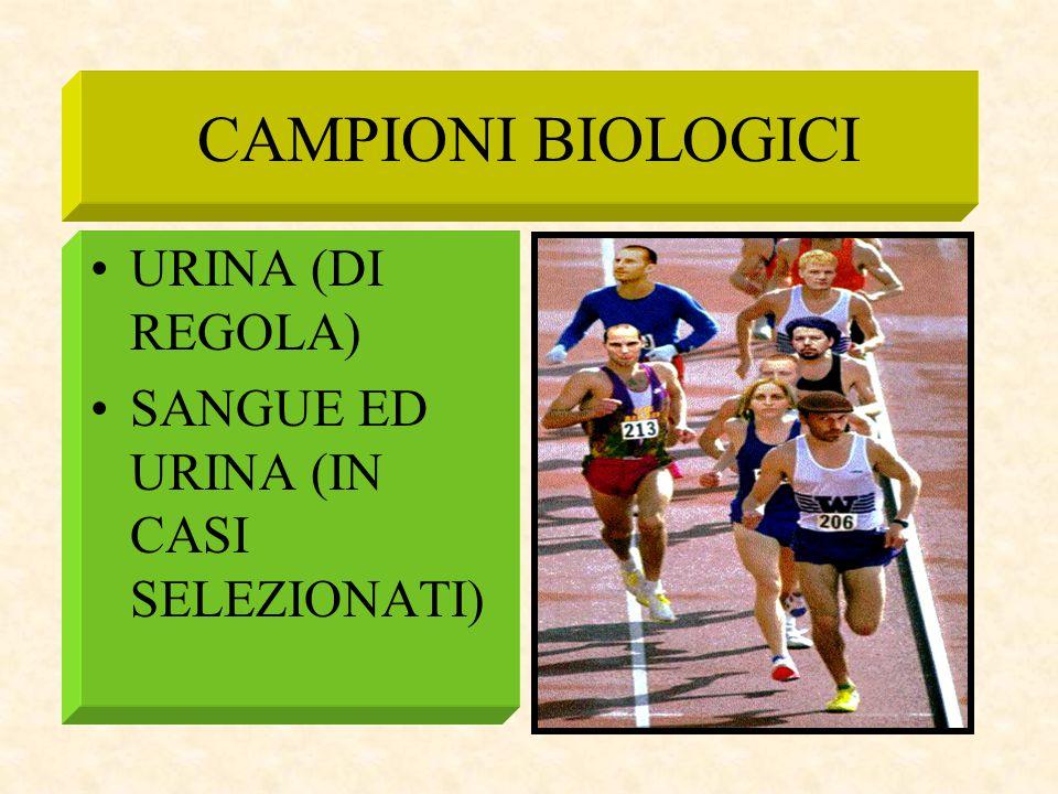 CAMPIONI BIOLOGICI URINA (DI REGOLA) SANGUE ED URINA (IN CASI SELEZIONATI)