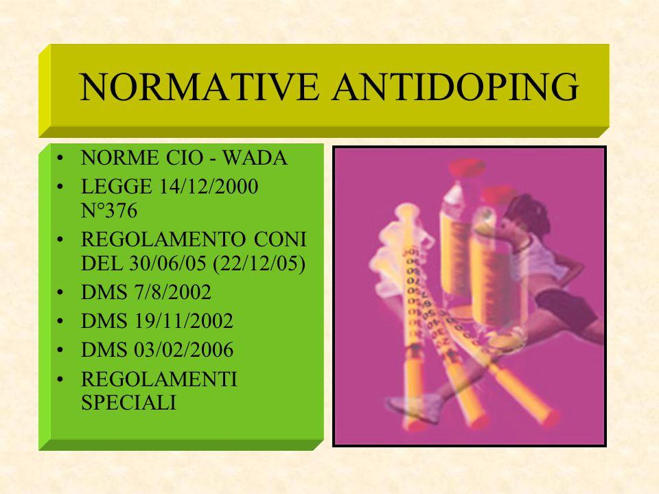 NORMATIVE ANTIDOPING NORME CIO - WADA LEGGE 14/12/2000 N°376 REGOLAMENTO CONI DEL 30/06/05 (22/12/05) DMS 7/8/2002 DMS 19/11/2002 DMS 03/02/2006 REGOL