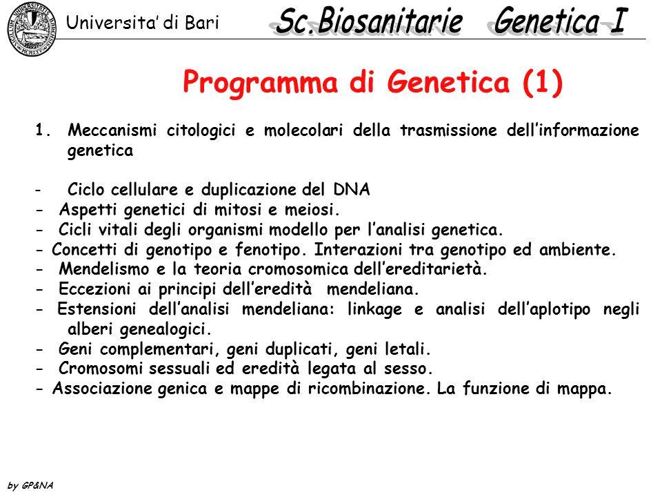 Programma di Genetica (1) 1.Meccanismi citologici e molecolari della trasmissione dell'informazione genetica -Ciclo cellulare e duplicazione del DNA -
