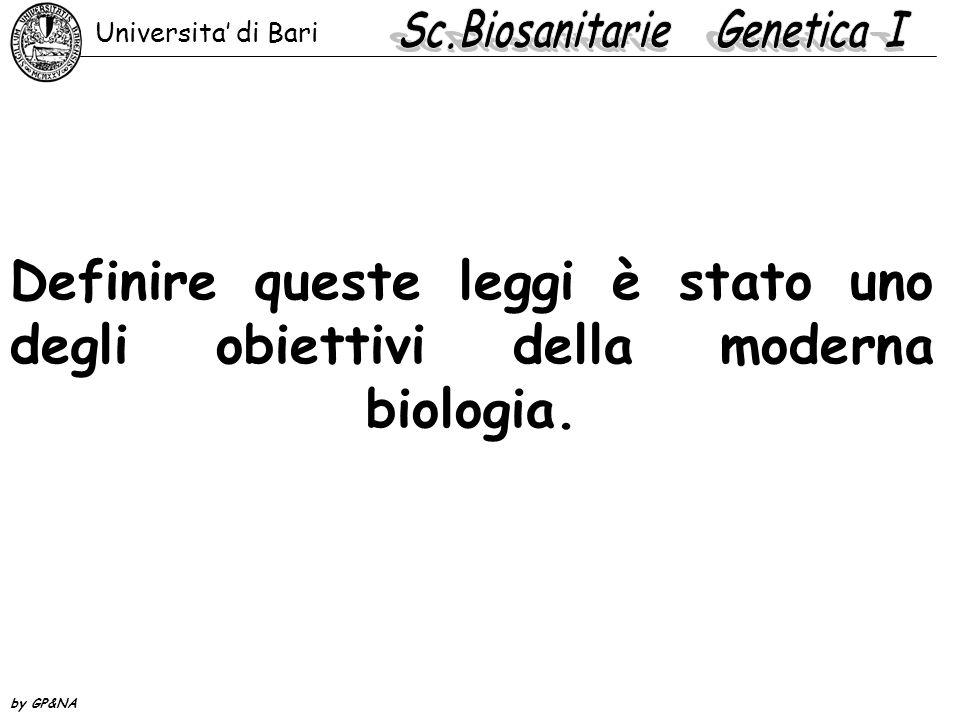 Definire queste leggi è stato uno degli obiettivi della moderna biologia. Universita' di Bari by GP&NA