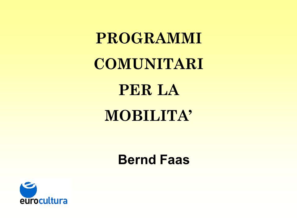 PROGRAMMI COMUNITARI PER LA MOBILITA' Bernd Faas