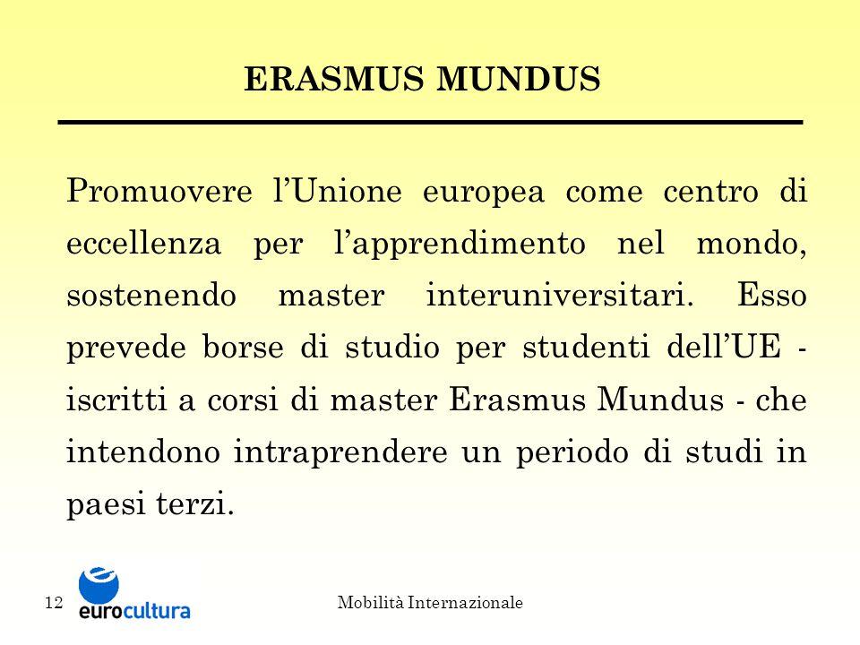 Mobilità Internazionale12 ERASMUS MUNDUS Promuovere l'Unione europea come centro di eccellenza per l'apprendimento nel mondo, sostenendo master interuniversitari.