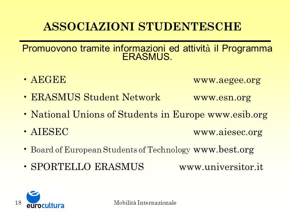 Mobilità Internazionale18 ASSOCIAZIONI STUDENTESCHE Promuovono tramite informazioni ed attivit à il Programma ERASMUS.