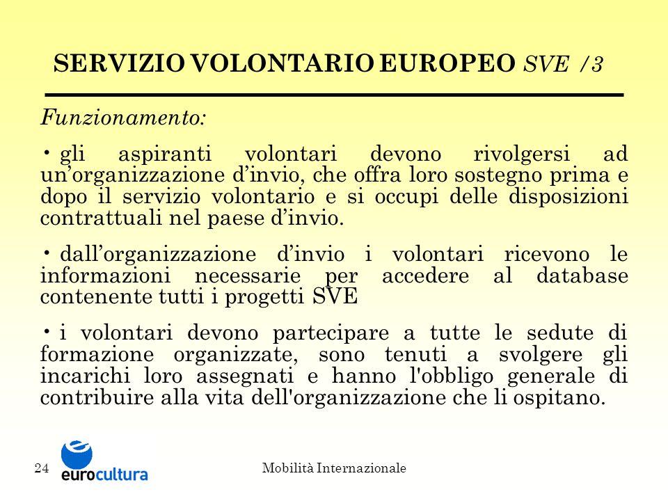 Mobilità Internazionale24 SERVIZIO VOLONTARIO EUROPEO SVE /3 Funzionamento: gli aspiranti volontari devono rivolgersi ad un'organizzazione d'invio, che offra loro sostegno prima e dopo il servizio volontario e si occupi delle disposizioni contrattuali nel paese d'invio.