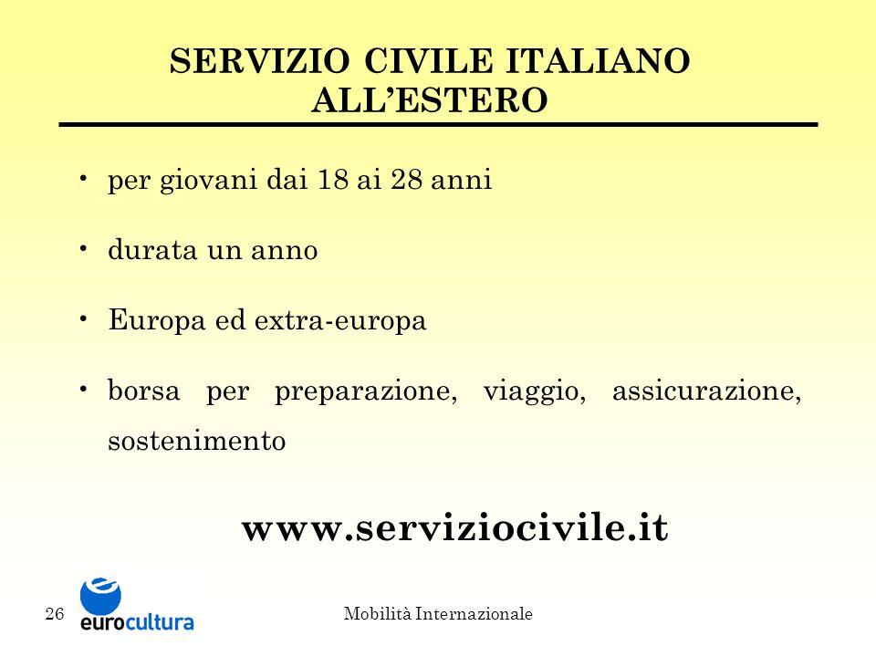 Mobilità Internazionale26 SERVIZIO CIVILE ITALIANO ALL'ESTERO per giovani dai 18 ai 28 anni durata un anno Europa ed extra-europa borsa per preparazione, viaggio, assicurazione, sostenimento www.serviziocivile.it