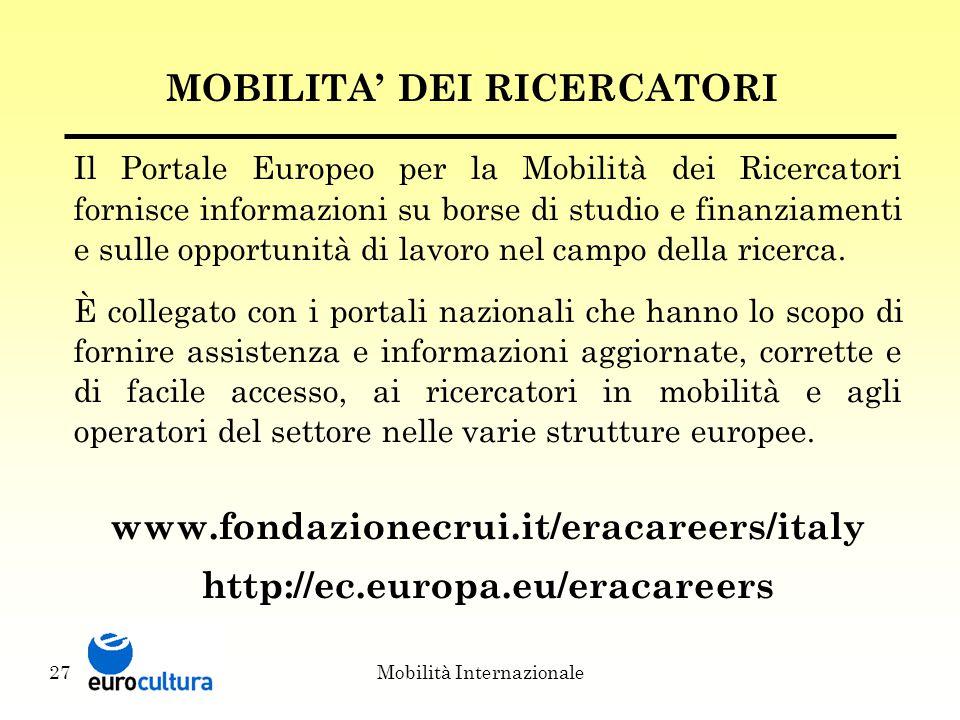 Mobilità Internazionale27 MOBILITA' DEI RICERCATORI Il Portale Europeo per la Mobilità dei Ricercatori fornisce informazioni su borse di studio e finanziamenti e sulle opportunità di lavoro nel campo della ricerca.