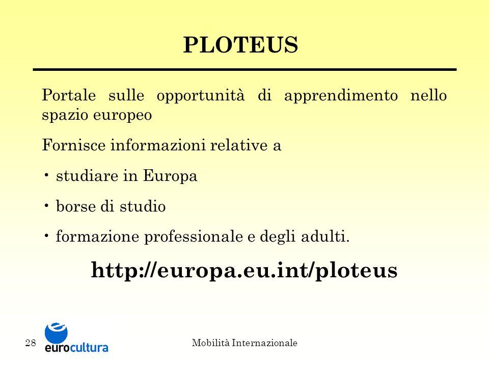 Mobilità Internazionale28 PLOTEUS Portale sulle opportunità di apprendimento nello spazio europeo Fornisce informazioni relative a studiare in Europa borse di studio formazione professionale e degli adulti.