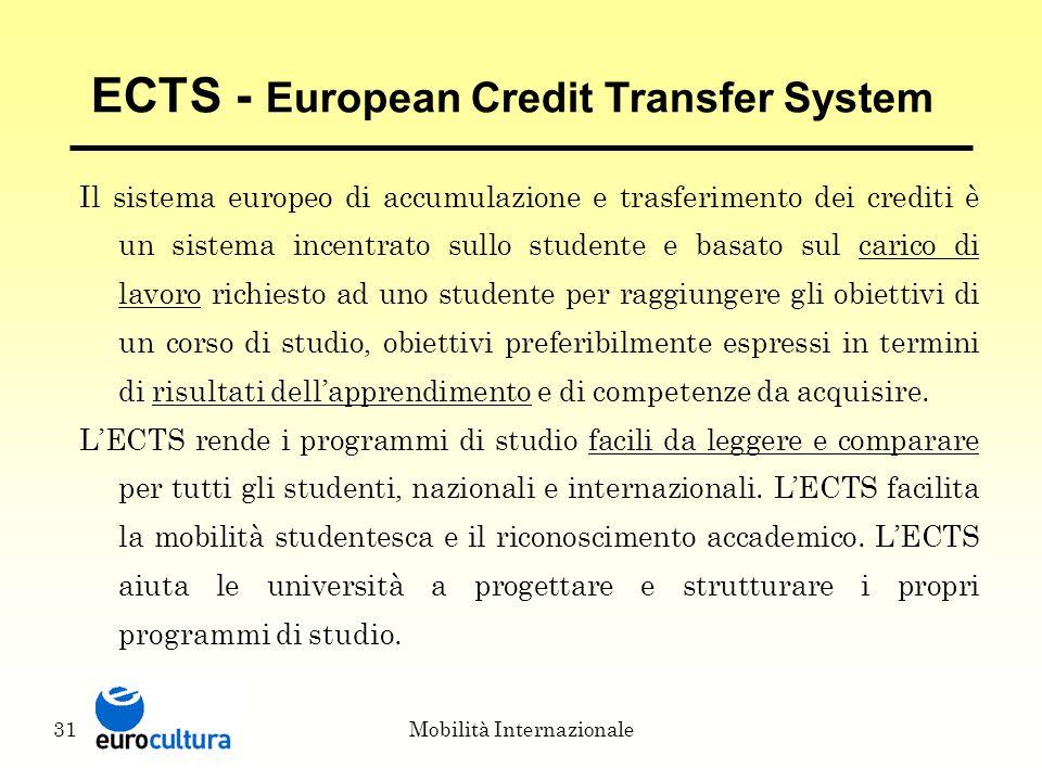 Mobilità Internazionale31 ECTS - European Credit Transfer System Il sistema europeo di accumulazione e trasferimento dei crediti è un sistema incentrato sullo studente e basato sul carico di lavoro richiesto ad uno studente per raggiungere gli obiettivi di un corso di studio, obiettivi preferibilmente espressi in termini di risultati dell'apprendimento e di competenze da acquisire.