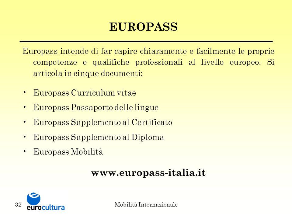 Mobilità Internazionale32 EUROPASS Europass intende di far capire chiaramente e facilmente le proprie competenze e qualifiche professionali al livello europeo.