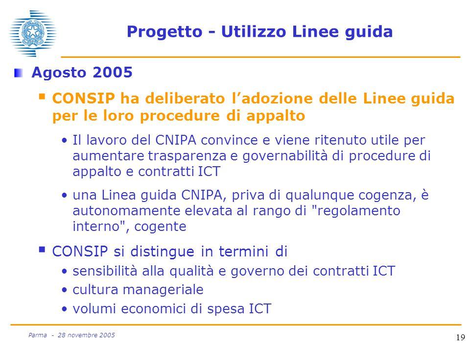 19 Parma - 28 novembre 2005 Progetto - Utilizzo Linee guida Agosto 2005  CONSIP ha deliberato l'adozione delle Linee guida per le loro procedure di appalto Il lavoro del CNIPA convince e viene ritenuto utile per aumentare trasparenza e governabilità di procedure di appalto e contratti ICT una Linea guida CNIPA, priva di qualunque cogenza, è autonomamente elevata al rango di regolamento interno , cogente  CONSIP si distingue in termini di sensibilità alla qualità e governo dei contratti ICT cultura manageriale volumi economici di spesa ICT