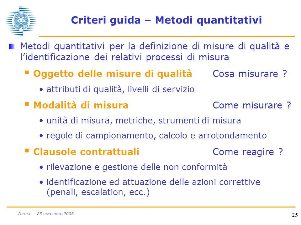 25 Parma - 28 novembre 2005 Criteri guida – Metodi quantitativi Metodi quantitativi per la definizione di misure di qualità e l'identificazione dei relativi processi di misura  Oggetto delle misure di qualitàCosa misurare .