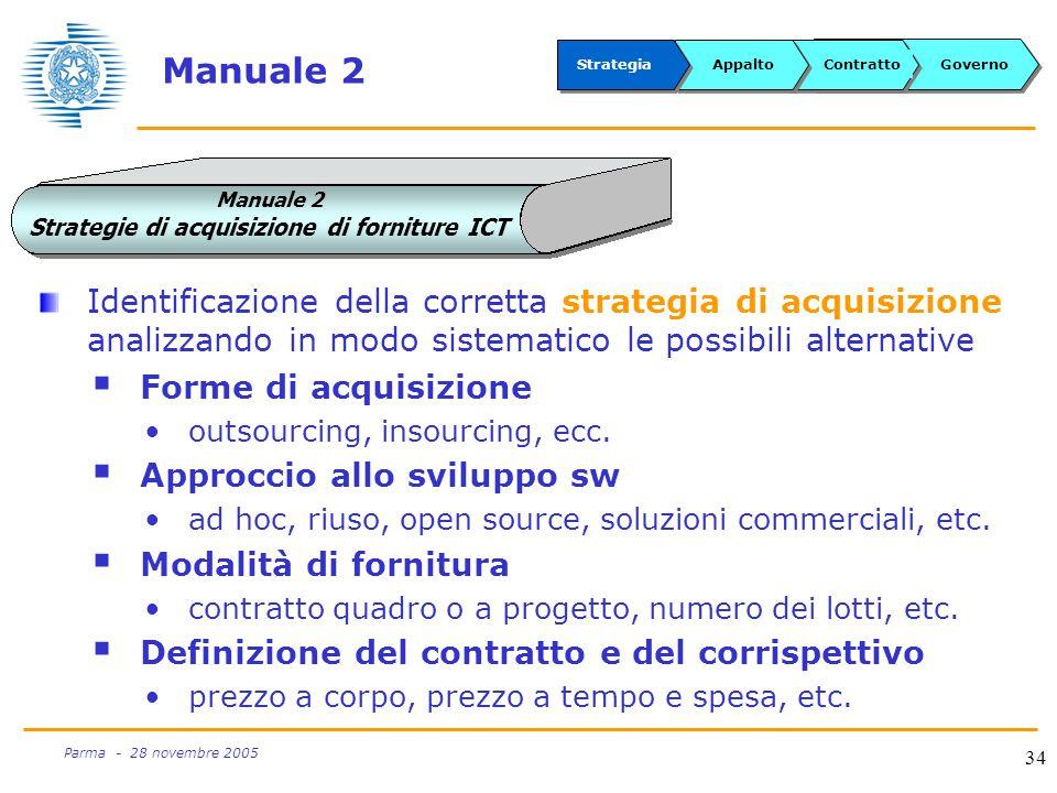 34 Parma - 28 novembre 2005 Manuale 2 Identificazione della corretta strategia di acquisizione analizzando in modo sistematico le possibili alternative  Forme di acquisizione outsourcing, insourcing, ecc.