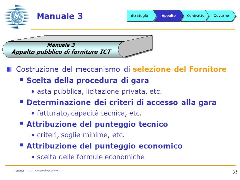35 Parma - 28 novembre 2005 Manuale 3 Costruzione del meccanismo di selezione del Fornitore  Scelta della procedura di gara asta pubblica, licitazione privata, etc.