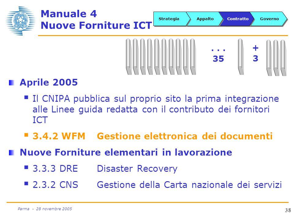 38 Parma - 28 novembre 2005 Manuale 4 Nuove Forniture ICT Aprile 2005  Il CNIPA pubblica sul proprio sito la prima integrazione alle Linee guida redatta con il contributo dei fornitori ICT  3.4.2 WFMGestione elettronica dei documenti Nuove Forniture elementari in lavorazione  3.3.3 DREDisaster Recovery  2.3.2 CNSGestione della Carta nazionale dei servizi...