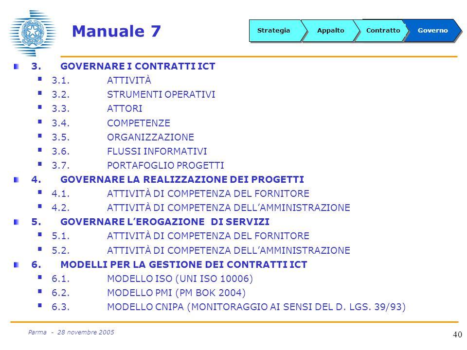 40 Parma - 28 novembre 2005 Manuale 7 3.GOVERNARE I CONTRATTI ICT  3.1.ATTIVITÀ  3.2.STRUMENTI OPERATIVI  3.3.ATTORI  3.4.COMPETENZE  3.5.ORGANIZZAZIONE  3.6.FLUSSI INFORMATIVI  3.7.PORTAFOGLIO PROGETTI 4.GOVERNARE LA REALIZZAZIONE DEI PROGETTI  4.1.ATTIVITÀ DI COMPETENZA DEL FORNITORE  4.2.ATTIVITÀ DI COMPETENZA DELL'AMMINISTRAZIONE 5.GOVERNARE L'EROGAZIONE DI SERVIZI  5.1.ATTIVITÀ DI COMPETENZA DEL FORNITORE  5.2.ATTIVITÀ DI COMPETENZA DELL'AMMINISTRAZIONE 6.MODELLI PER LA GESTIONE DEI CONTRATTI ICT  6.1.MODELLO ISO (UNI ISO 10006)  6.2.MODELLO PMI (PM BOK 2004)  6.3.MODELLO CNIPA (MONITORAGGIO AI SENSI DEL D.
