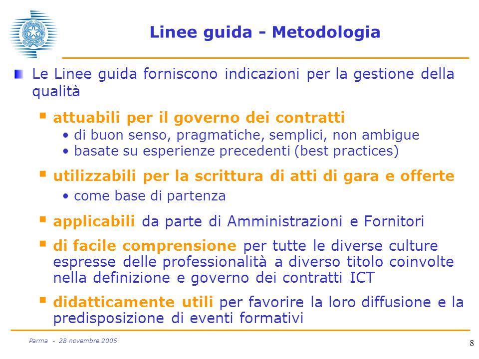 9 Parma - 28 novembre 2005 Linee guida - Metodologia Le Linee guida forniscono risposte concrete a domande operative  come richiedere la qualità per appaltare i servizi Che modalità di acquisizione praticare .