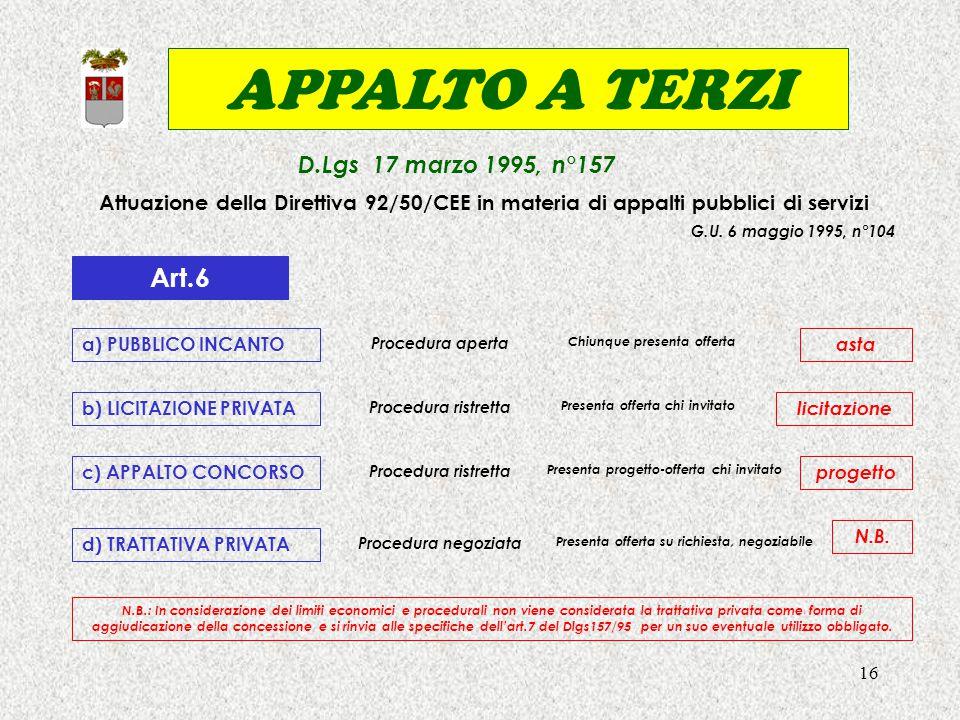 16 APPALTO A TERZI D.Lgs 17 marzo 1995, n°157 Attuazione della Direttiva 92/50/CEE in materia di appalti pubblici di servizi G.U. 6 maggio 1995, n°104