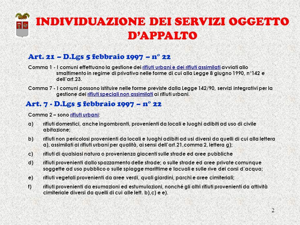 2 INDIVIDUAZIONE DEI SERVIZI OGGETTO D'APPALTO Art. 21 – D.Lgs 5 febbraio 1997 – n° 22 Art. 7 - D.Lgs 5 febbraio 1997 – n° 22 Comma 1 - I comuni effet