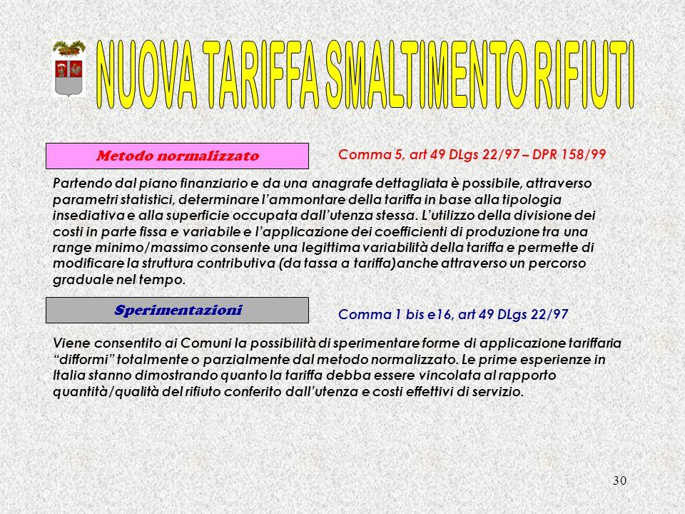 30 Metodo normalizzato Comma 5, art 49 DLgs 22/97 – DPR 158/99 Comma 1 bis e16, art 49 DLgs 22/97 Sperimentazioni Partendo dal piano finanziario e da