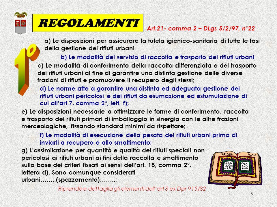 9 REGOLAMENTI Art.21- comma 2 – DLgs 5/2/97, n°22 a) Le disposizioni per assicurare la tutela igienico-sanitaria di tutte le fasi della gestione dei r