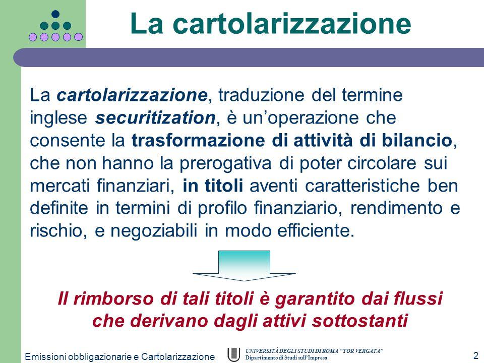 """UNIVERSITÀ DEGLI STUDI DI ROMA """"TOR VERGATA"""" Dipartimento di Studi sull'Impresa Emissioni obbligazionarie e Cartolarizzazione 2 La cartolarizzazione,"""