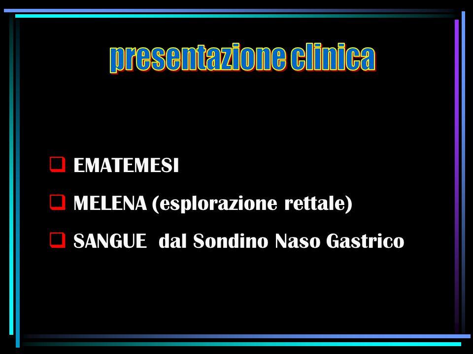  EMATEMESI  MELENA (esplorazione rettale)  SANGUE dal Sondino Naso Gastrico