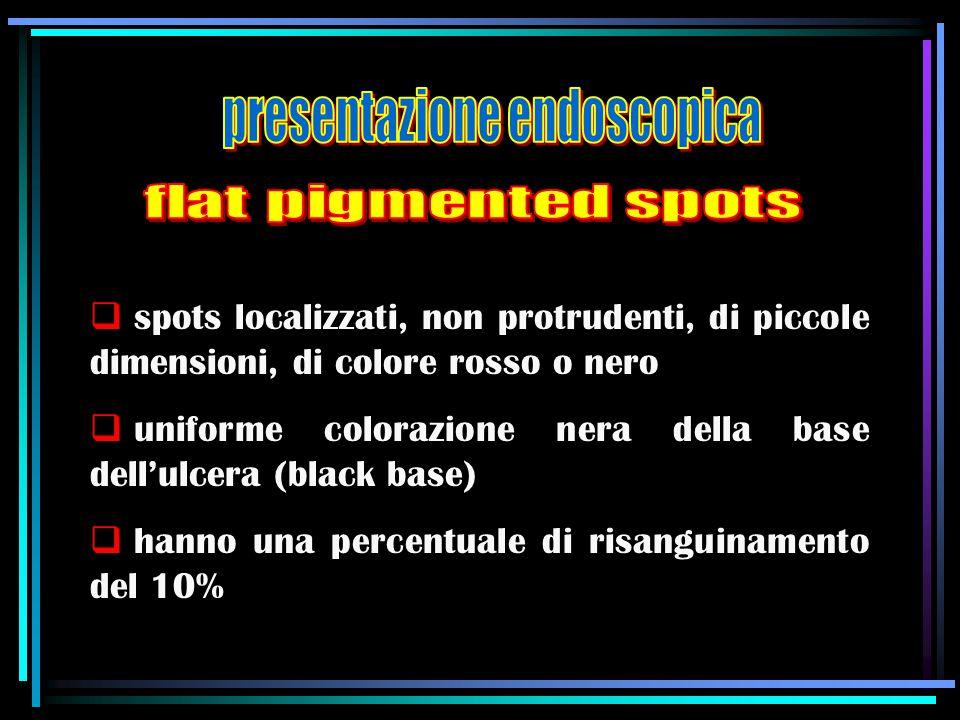  spots localizzati, non protrudenti, di piccole dimensioni, di colore rosso o nero  uniforme colorazione nera della base dell'ulcera (black base) 