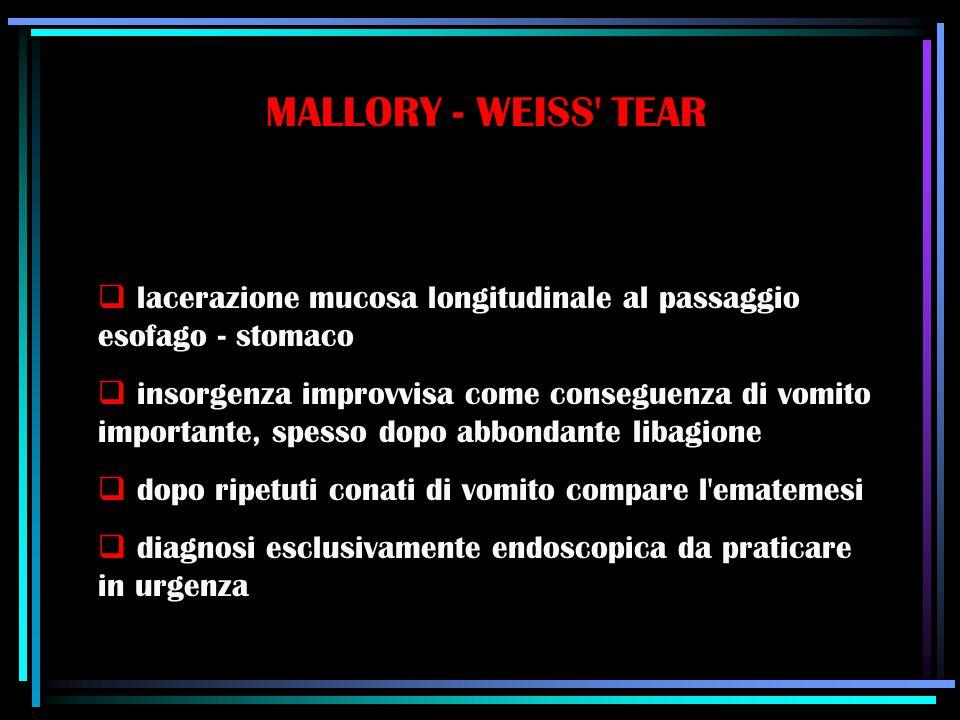 MALLORY - WEISS' TEAR  lacerazione mucosa longitudinale al passaggio esofago - stomaco  insorgenza improvvisa come conseguenza di vomito importante,
