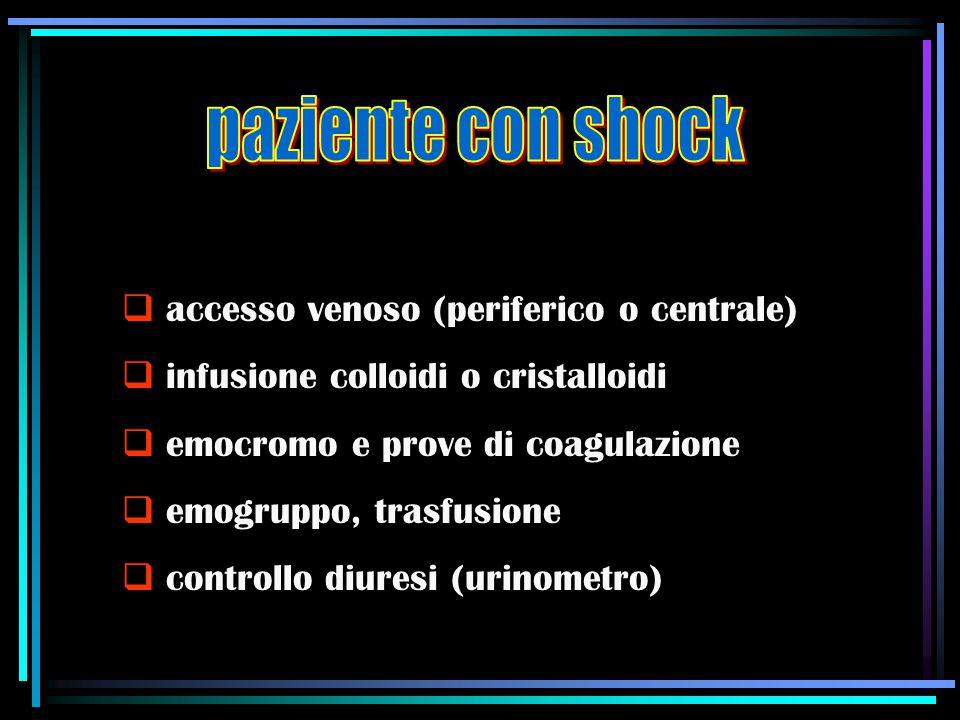 accesso venoso (periferico o centrale)  infusione colloidi o cristalloidi  emocromo e prove di coagulazione  emogruppo, trasfusione  controllo d
