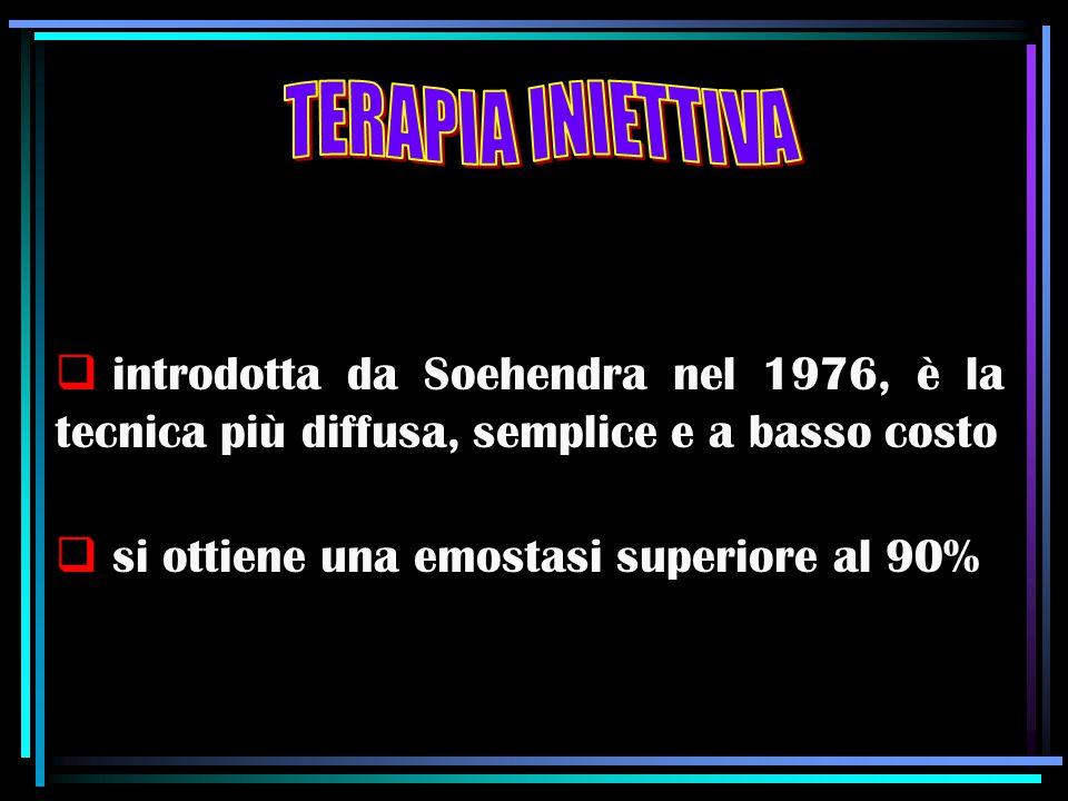  introdotta da Soehendra nel 1976, è la tecnica più diffusa, semplice e a basso costo  si ottiene una emostasi superiore al 90%