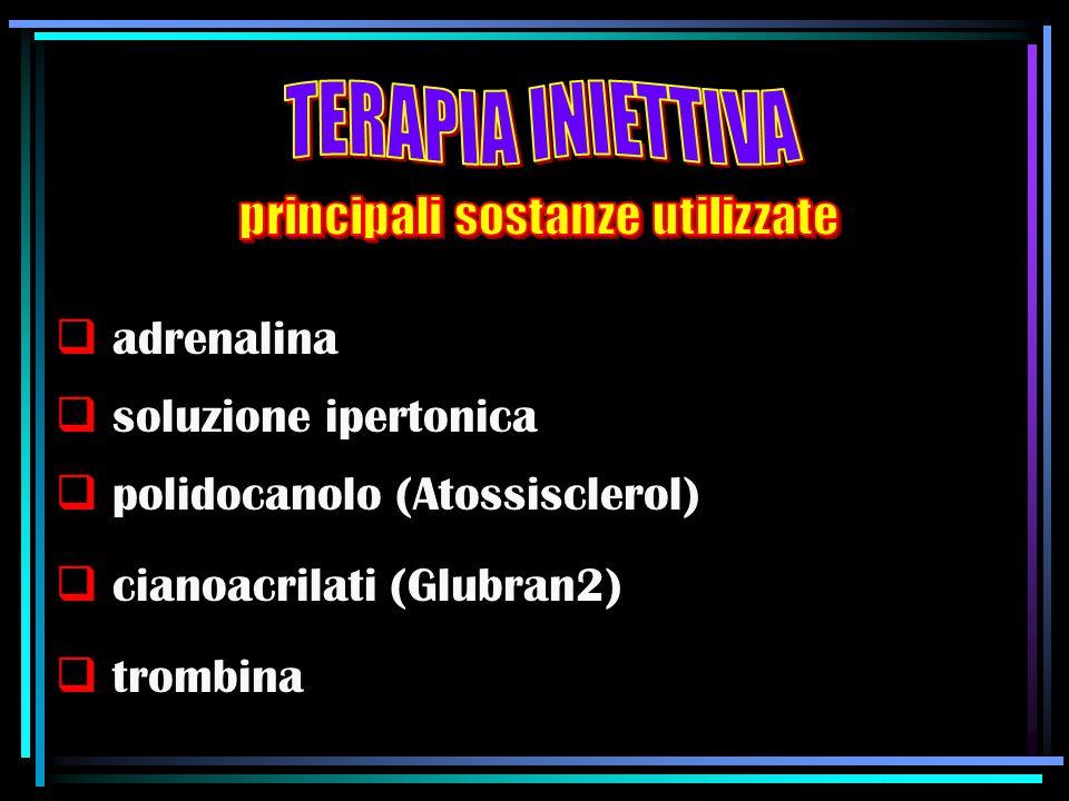  adrenalina  soluzione ipertonica  polidocanolo (Atossisclerol)  cianoacrilati (Glubran2)  trombina