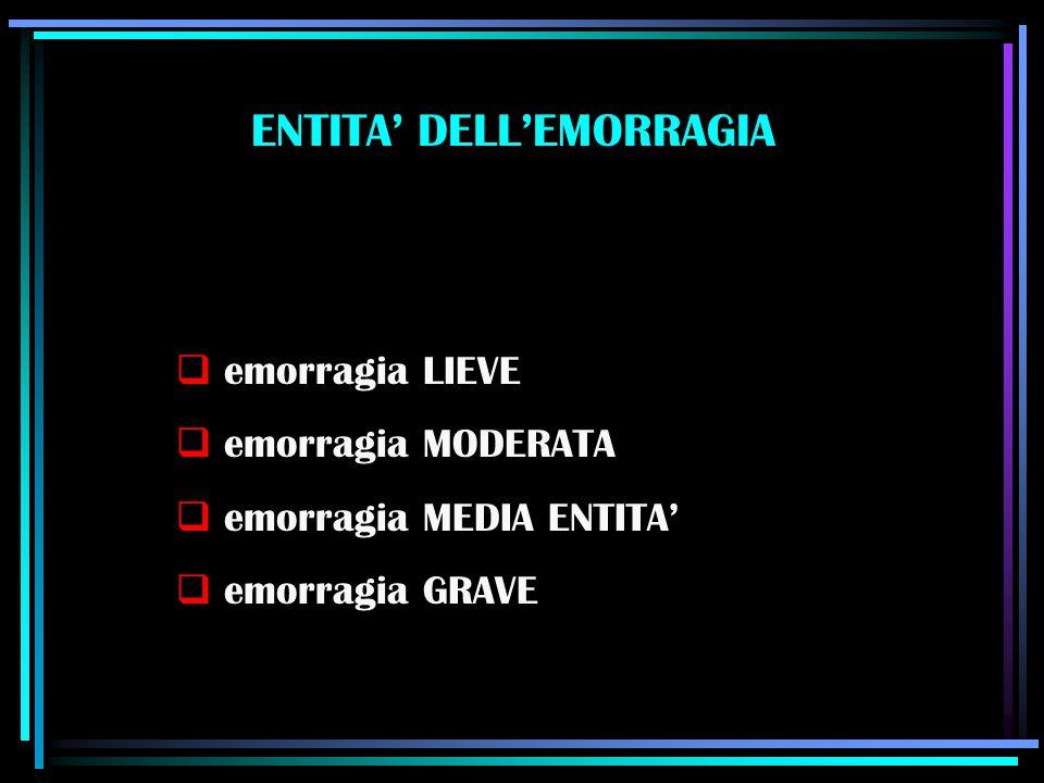 ENTITA' DELL'EMORRAGIA  emorragia LIEVE  emorragia MODERATA  emorragia MEDIA ENTITA'  emorragia GRAVE