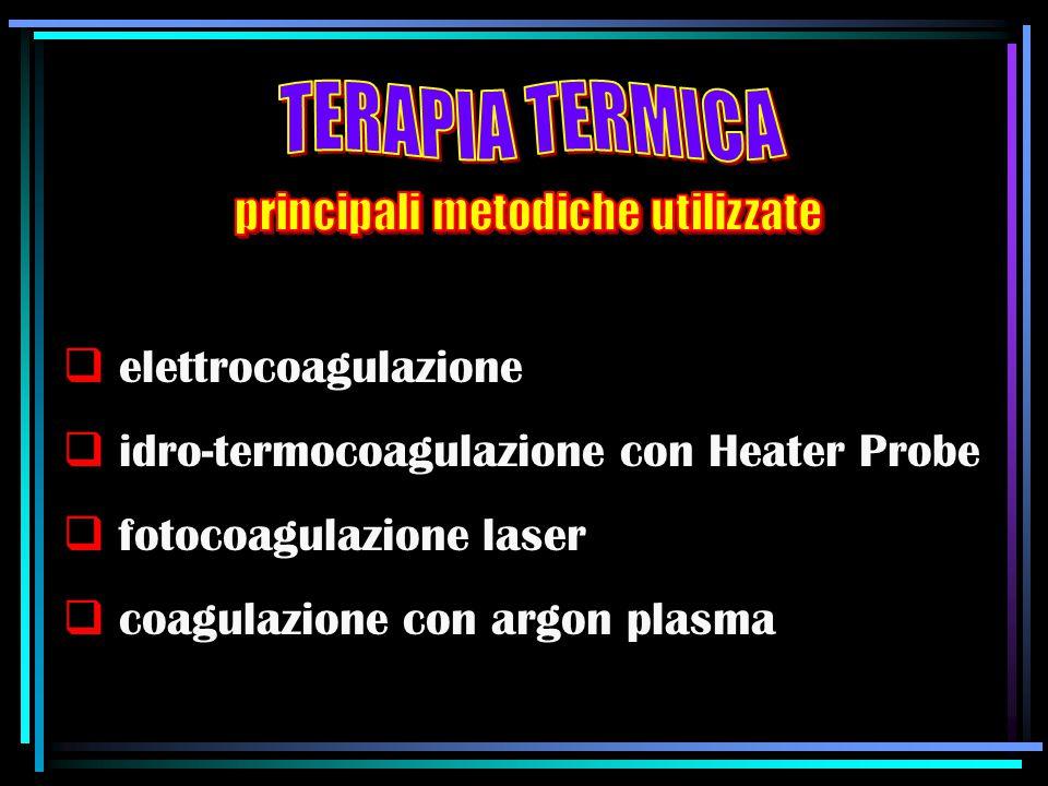  elettrocoagulazione  idro-termocoagulazione con Heater Probe  fotocoagulazione laser  coagulazione con argon plasma