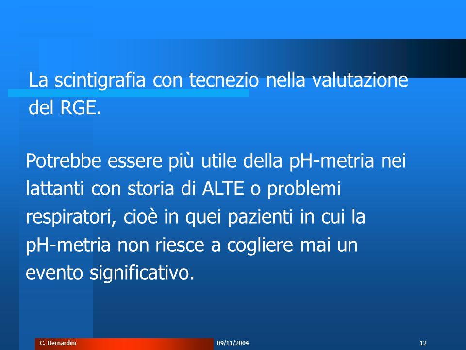 C. Bernardini09/11/200412 La scintigrafia con tecnezio nella valutazione del RGE.