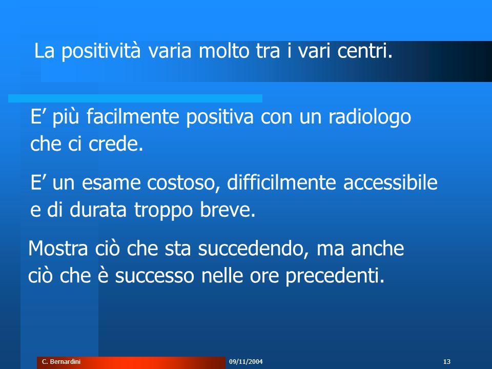 C. Bernardini09/11/200413 La positività varia molto tra i vari centri.