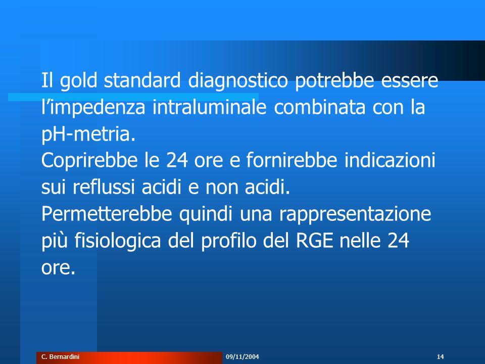 C. Bernardini09/11/200414 Il gold standard diagnostico potrebbe essere l'impedenza intraluminale combinata con la pH-metria. Coprirebbe le 24 ore e fo