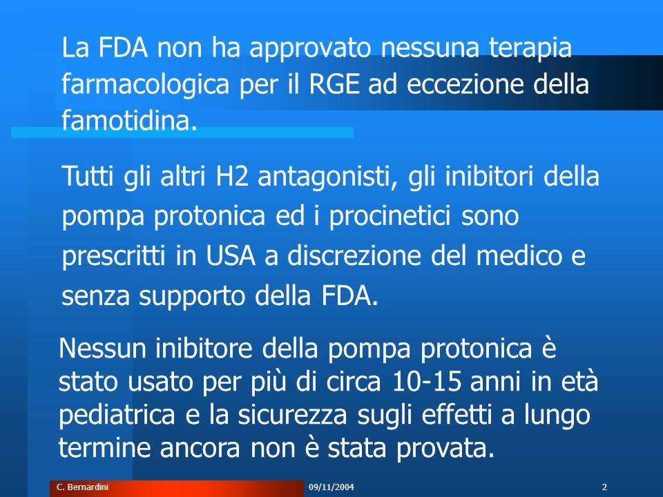 C. Bernardini09/11/20042 La FDA non ha approvato nessuna terapia farmacologica per il RGE ad eccezione della famotidina. Tutti gli altri H2 antagonist