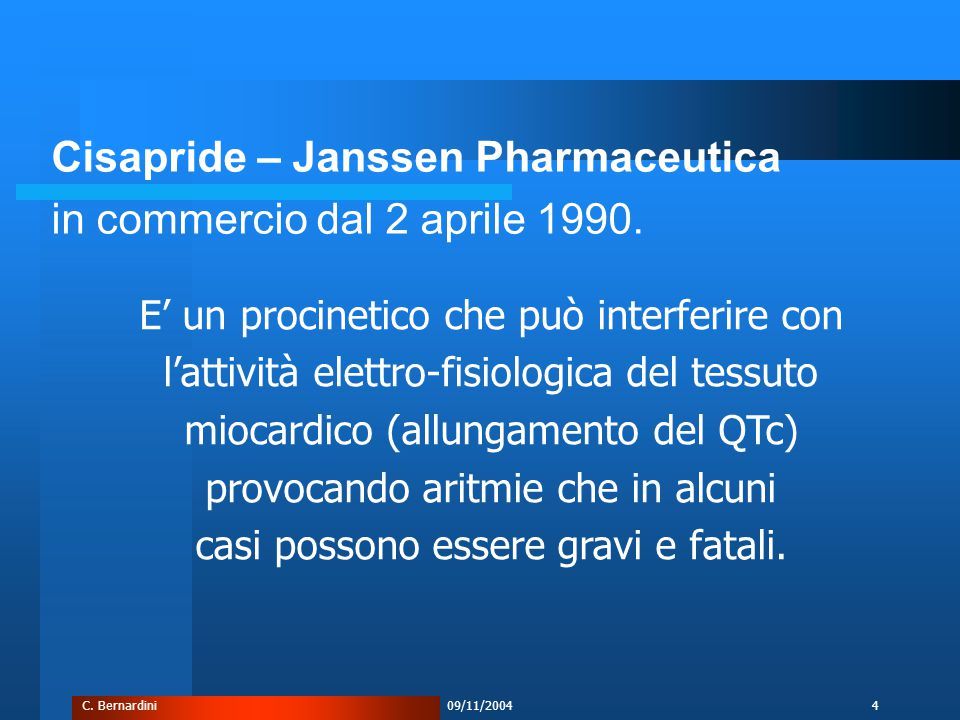 C. Bernardini09/11/20044 Cisapride – Janssen Pharmaceutica in commercio dal 2 aprile 1990.