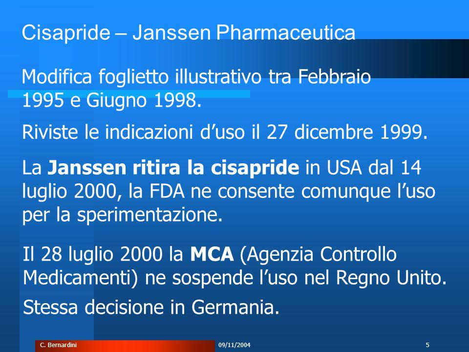 C. Bernardini09/11/20045 Modifica foglietto illustrativo tra Febbraio 1995 e Giugno 1998.