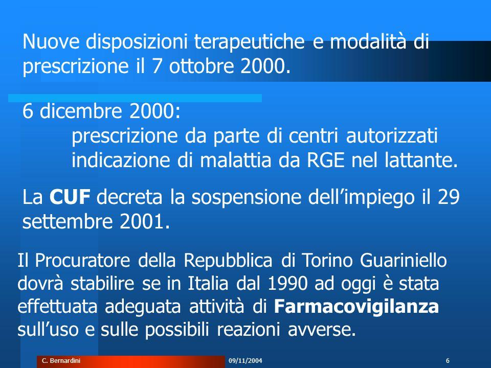 C. Bernardini09/11/20046 La CUF decreta la sospensione dell'impiego il 29 settembre 2001.