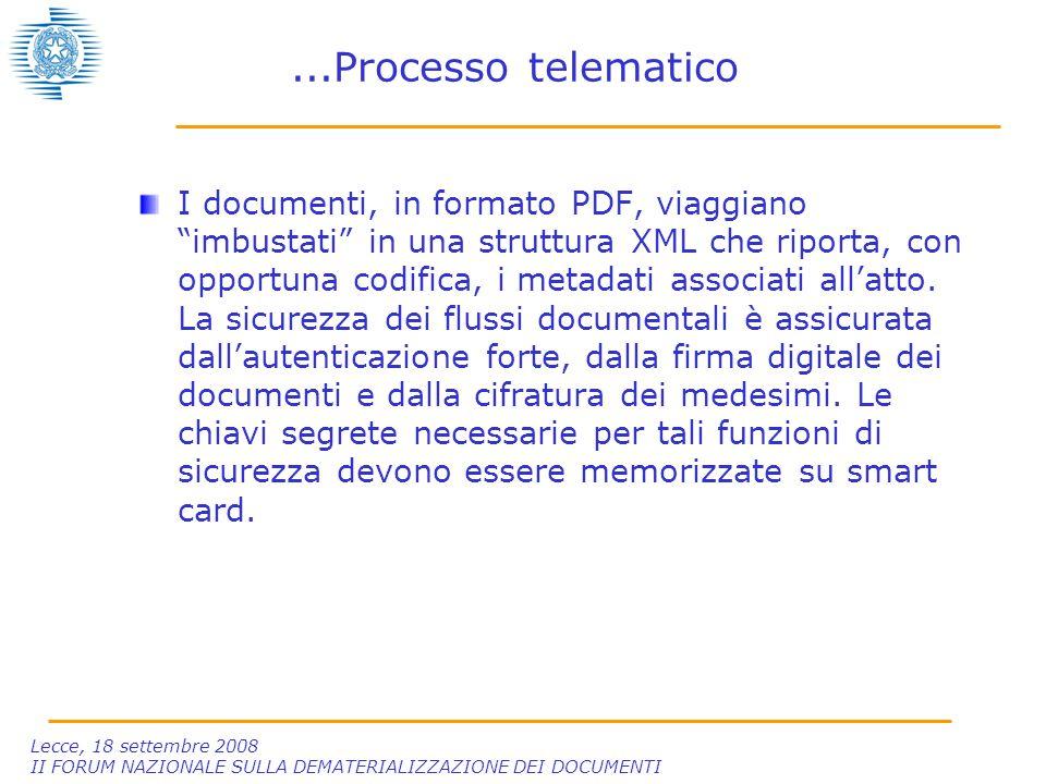 Lecce, 18 settembre 2008 II FORUM NAZIONALE SULLA DEMATERIALIZZAZIONE DEI DOCUMENTI...Processo telematico I documenti, in formato PDF, viaggiano imbustati in una struttura XML che riporta, con opportuna codifica, i metadati associati all'atto.