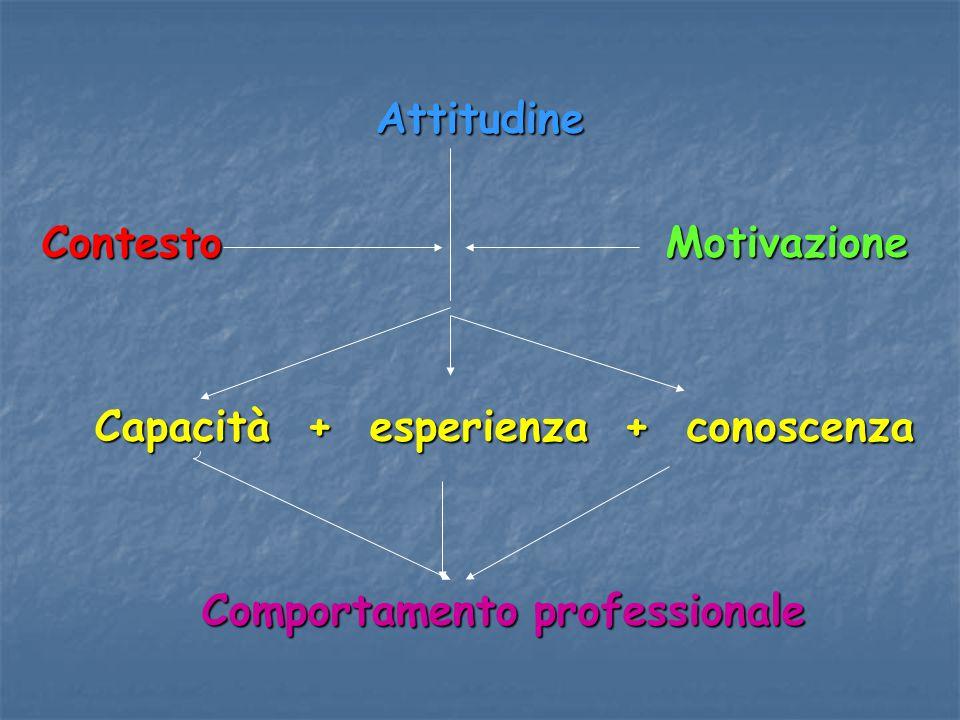 Attitudine Contesto Motivazione Capacità + esperienza + conoscenza Capacità + esperienza + conoscenza Comportamento professionale Comportamento profes