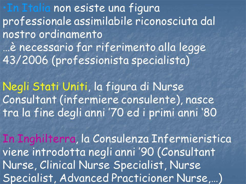 In Italia non esiste una figura professionale assimilabile riconosciuta dal nostro ordinamento …è necessario far riferimento alla legge 43/2006 (profe