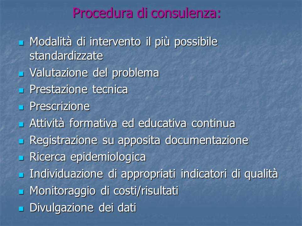 Procedura di consulenza: Modalità di intervento il più possibile standardizzate Modalità di intervento il più possibile standardizzate Valutazione del